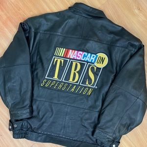 Vintage NASCAR TBS Superstation Leather Jacket XL